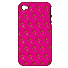 No Step On Snek Pattern Yellow On Pink Background Gadsden Flag Meme Parody Apple Iphone 4/4s Hardshell Case (pc+silicone)