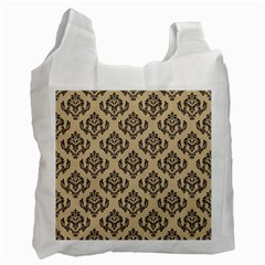 Damask   Black On Almond Buff Recycle Bag (one Side)