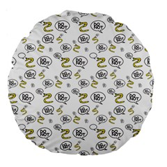 No Step On Snek Do Not  Bubble Speech Pattern White Background Gadsden Flag Meme Large 18  Premium Flano Round Cushions