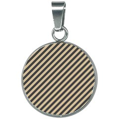 Diagonal Stripes  20mm Round Necklace by TimelessFashion