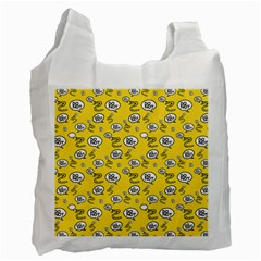 No Step On Snek Do Not Bubble Speech Pattern Yellow Background Meme Recycle Bag (one Side) by snek