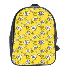 No Step On Snek Do Not Bubble Speech Pattern Yellow Background Meme School Bag (large)