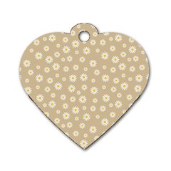 Field Of Daisies  Dog Tag Heart (two Sides)