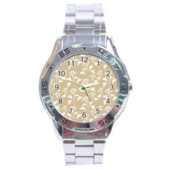 Floral In Almond Buff And White Stainless Steel Analogue Watch