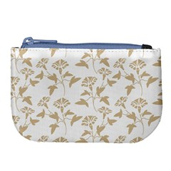 Floral In Almond Buff And White Large Coin Purse