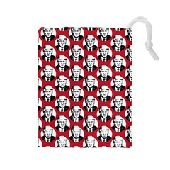 Trump Retro Face Pattern Maga Red Us Patriot Drawstring Pouch (large)