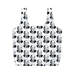 Trump Retro Face Pattern Maga Black And White Us Patriot Full Print Recycle Bag (m) by snek