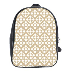 Floral Dot Series   White And Almond Buff School Bag (xl) by TimelessFashion