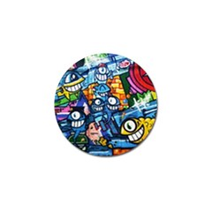 Graffiti Urban Colorful Graffiti Cartoon Fish Golf Ball Marker