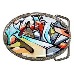 Blue Face King Graffiti Street Art Urban Blue And Orange Face Abstract Hiphop Belt Buckles