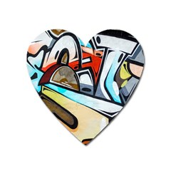 Blue Face King Graffiti Street Art Urban Blue And Orange Face Abstract Hiphop Heart Magnet by genx