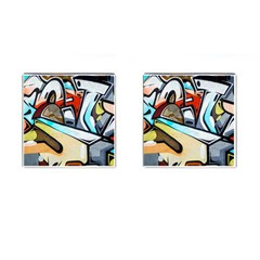 Blue Face King Graffiti Street Art Urban Blue And Orange Face Abstract Hiphop Cufflinks (square) by snek