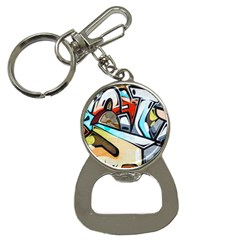 Blue Face King Graffiti Street Art Urban Blue And Orange Face Abstract Hiphop Bottle Opener Key Chains
