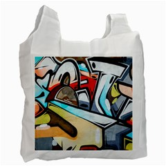 Blue Face King Graffiti Street Art Urban Blue And Orange Face Abstract Hiphop Recycle Bag (one Side) by snek