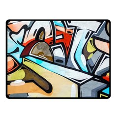 Blue Face King Graffiti Street Art Urban Blue And Orange Face Abstract Hiphop Fleece Blanket (small) by snek
