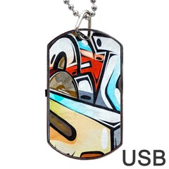Blue Face King Graffiti Street Art Urban Blue And Orange Face Abstract Hiphop Dog Tag Usb Flash (one Side) by snek