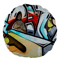 Blue Face King Graffiti Street Art Urban Blue And Orange Face Abstract Hiphop Large 18  Premium Round Cushions by snek