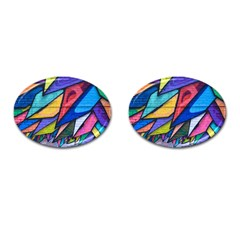 Urban Colorful Graffiti Brick Wall Industrial Scale Abstract Pattern Cufflinks (oval) by snek