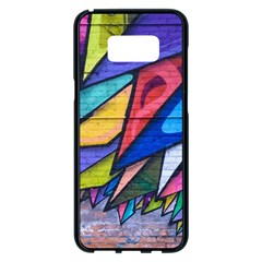 Urban Colorful Graffiti Brick Wall Industrial Scale Abstract Pattern Samsung Galaxy S8 Plus Black Seamless Case by snek