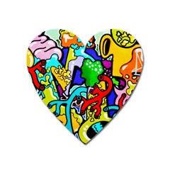 Graffiti Abstract With Colorful Tubes And Biology Artery Theme Heart Magnet
