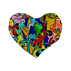 Graffiti Abstract With Colorful Tubes And Biology Artery Theme Standard 16  Premium Flano Heart Shape Cushions by snek