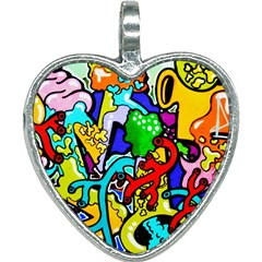 Graffiti Abstract With Colorful Tubes And Biology Artery Theme Heart Necklace