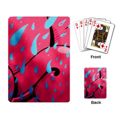 Graffiti Watermelon Pink With Light Blue Drops Retro Playing Cards Single Design