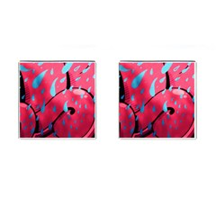 Graffiti Watermelon Pink With Light Blue Drops Retro Cufflinks (square) by snek