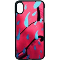 Graffiti Watermelon Pink With Light Blue Drops Retro Apple Iphone Xs Seamless Case (black) by snek