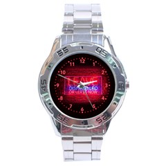 Party Night Bar Neon Quote Leave Disheveled Or Leave Now Stainless Steel Analogue Watch