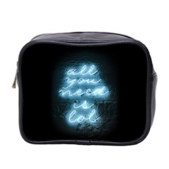 Party Night Bar Blue Neon Light Quote All You Need Is Lol Mini Toiletries Bag (two Sides)