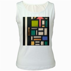 Door Stained Glass Stained Glass Women s White Tank Top by Pakrebo