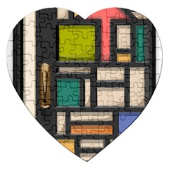 Door Stained Glass Stained Glass Jigsaw Puzzle (heart) by Pakrebo