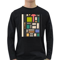 Door Stained Glass Stained Glass Long Sleeve Dark T Shirt by Pakrebo