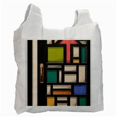 Door Stained Glass Stained Glass Recycle Bag (two Side) by Pakrebo