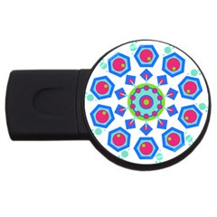 Mandala Geometric Design Pattern Usb Flash Drive Round (4 Gb) by Pakrebo
