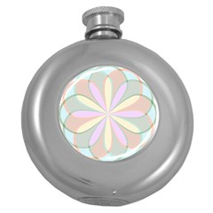 Flower Stained Glass Window Symmetry Round Hip Flask (5 Oz) by Pakrebo
