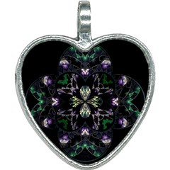 Fractal Fractal Art Texture Heart Necklace by Pakrebo