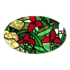 Stained Glass Art Window Church Oval Magnet