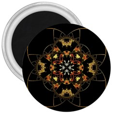 Fractal Stained Glass Ornate 3  Magnets