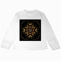 Fractal Stained Glass Ornate Kids Long Sleeve T Shirts by Pakrebo