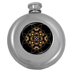 Fractal Stained Glass Ornate Round Hip Flask (5 Oz)