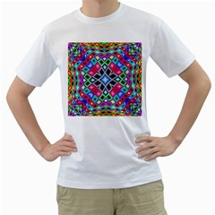 Kaleidoscope Pattern Sacred Geometry Men s T Shirt (white) (two Sided)
