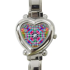 Kaleidoscope Pattern Sacred Geometry Heart Italian Charm Watch by Pakrebo