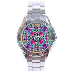 Kaleidoscope Pattern Sacred Geometry Stainless Steel Analogue Watch