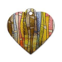 Stained Glass Window Colorful Dog Tag Heart (one Side)