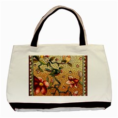 Flower Cubism Mosaic Vintage Basic Tote Bag