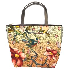 Flower Cubism Mosaic Vintage Bucket Bag