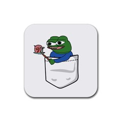 Apu Apustaja Roasting A Snail On A Campfire Pepe The Frog Pocket Tee Kekistan Rubber Coaster (square)  by snek