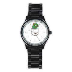 Apu Apustaja Crying Pepe The Frog Pocket Tee Kekistan Stainless Steel Round Watch